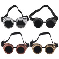 Wholesale Steam Punk Goggles Glasses - Goggles Steam punk Glasses Vintage Retro Welding Punk Victorian for bike free shipping