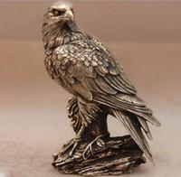 china estátua da águia venda por atacado-China branco cobre prata águia falcão preto-orelhudo pipa Art Bird escultura estátua