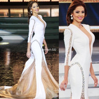 Wholesale Miss World Prom Dress - Miss World White Pageant 2017 Evening Gowns Sheer Deep V-Neck Beading Mermaid Sexy Long Sleeve Women Formal Wear Dress for Prom Party Cheap
