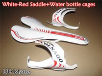 Wholesale White Bike Saddle - Packaged for sale free shipping White-Red Colnago carbon bike Saddle Seat+Water bottle cages Holders with 3K UD Glossy Matte finish