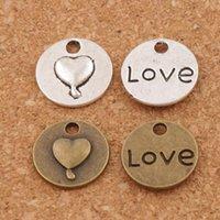 Wholesale Tibetan Round Silver Pendant - Love Heart Round Mark Charms Pendants 200pcs lot 14.8x14.8mm Tibetan Silver Bronze Fashion Jewelry DIY L922
