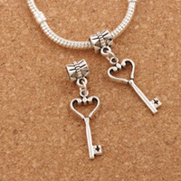 Open Heart Key Metal Big Hole Beads 100pcs / lot Antique Silver Dangle 10.5x37 mm Fit European Charm Bracelets B885