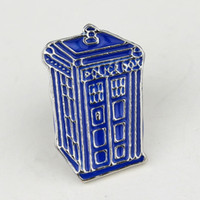 Wholesale Mysterious Box - Doctor Who Dr Mysterious series brooch badges Fashion Blue Tardis Box Enamel Tie Lapel Icons Brooch Pins Dress Accessories