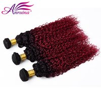Brazilian Kinky Curly Human Virgin Hair Tece com dois tons Ombre Color 1B Burgundy Double Wefts Remy Hair Extensions