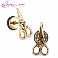 Wholesale Stainless Jewellry - 2pcs lot 2016 Popular Scissors Earings Studs Tools Surgical Steel Ear Piercing Jewellry Men Women Gold Plating oorbellen ES1999