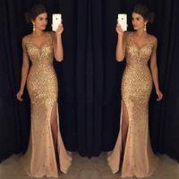 plus größe meerjungfrau schlitz abendkleid großhandel-New Luxury Gold Perlen Mermaid Abendkleider Lang Plus Size Slit Sleeveless V-Ausschnitt Abendkleid Abendkleid Robe de soiree 2017