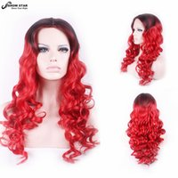 Wholesale Red Long Wig Halloween - Cheap Heat Resistant Black Red Ombre Wig Long Wavy Curly Wig Anime Cosplay Wigs Perruque Synthetic Women Halloween Costumes Wig Cosplay wome