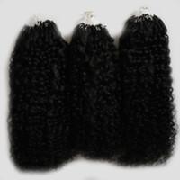 kinky afro saç uzantıları toptan satış-Doğal Renk afro kinky kıvırcık mikro döngü saç uzantıları 300g moğol kinky kıvırcık saç Mikro Bağlantı Saç Uzantıları İnsan 300 s