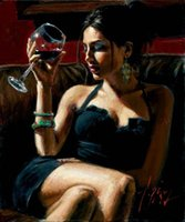 Wholesale Framed Tess IV Red Wine by Fabian Perez Pure Hand Painted Famous Impressionism Portrait Art Oil Painting On Thick Canvas Multi Sizes Fp001