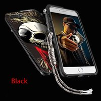 Wholesale Wholesale Metal Skulls For Cases - Brand New Metal Case for iPhone 7 7 Plus Aluminum Fame + 3D Relief Skull Protective Back Cover Cell Phone Shell in Retail Package