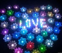 Wholesale Chinese Floating Flowers Lanterns - LED Artificial Lotus flower Colorful Changed Floating Water flower swimming Pool Wishing Light Lamps Lanterns Party supply
