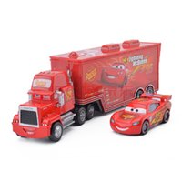Wholesale Original Cars Diecast - Cars 2 Original Pixar Car 95 Lightning Mcqueen Mack Cars Truck Set 1:55 Diecast Metal Toy Car Model For Children Kid Gift