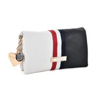 Wholesale Clutch Wallet Chain - 2017 Brand Designer Love Wallets Holders Socialite Soft Hasp Clutch Bags Woman Credit Card Package Striped Panelled SY5027
