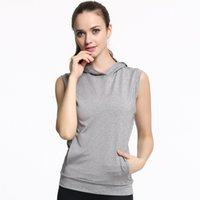 Wholesale One Size Pocket - New Women Running Fitness Hooded Vests Sleeveless Quick Dry Vest Yoga Clothes Pocket Sports Blouse Slim Tops For Female Grey Color