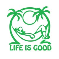 Wholesale Relax Decal - Wholesale 20pcs lot Home Decorations Automobile and Motorcycle Vinyl Decal Car Glass window Stickers Jdm Life's Good Relax Palm Tree