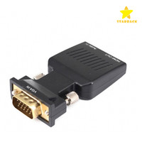 Wholesale Vga Input Pc - VGA to HDMI Video Box Adapter Converter with 3.5mm Audio Input Male to Female Connector for PC Laptop HDTV LCD