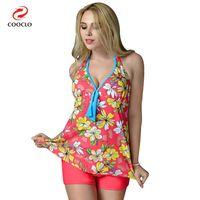 Wholesale Swimwear Russia - plus size swimwear print women beachwear two pieces tankini swimwear russia large cup plus size