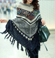 Wholesale Vintage Crochet Cape - 2017 Pull Pullover Cardigan Womens Capes And Ponchoes Winter Cape With Tassel Women's Sweater Fashion Vintage Bohemian free shipping