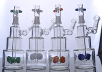 Wholesale Classic Tires - Hitman Glass Bongs Classic Cake glass Pipe oil Rigs Water Pipes with colored tire perc 14 mm male joint