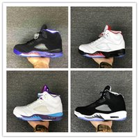 Wholesale Fresh Summer - Original High Quality Air Retro 5 Men's Basketball Shoes 5s Space Jam Black Grape Oreo Leather Black Fresh Prince Athletics Sports Sneakers