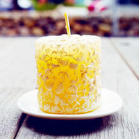 Wholesale Yellow Pillar Candles - White Pillar Candles Wedding Favor Smokeless Candles Sweet Scented Creative Style Design Party Light Osmanthus Fragrans Candle