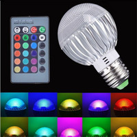 e26 rgb led birnen großhandel-9W E27 E26 E14 GU10 B22 LED RGB Glühbirne Bunter Wechselblitz mit LED Leuchten mit Fernbedienung, AC 100-240V
