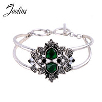 Wholesale Cheap Emerald Jewelry - Wholesale Jewelry Hot Cheap Emerald Glass Statement Bracelet  Jewelry Factory Supply