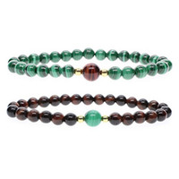 Wholesale Pcs Stretch Bracelet - New Fashion 6mm Red Tiger Eye and Malachite Stretch Natural Stone Beads Couple Bracelets Christmas Gifts (2 Pcs)