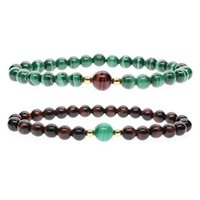 New Fashion 6mm Red Tiger Eye e Malachite Stretch Natural Stone Beads Casal Braceletes Presentes de Natal (2 Pcs)