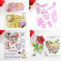 Wholesale Scrapbooking Card Making Supplies - Wholesale- Colored Big size Rubber stamps Map Rose Eco-friendly Transparent Stamp For DIY Scrapbooking Card Making  Decoration Supplies