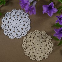 Wholesale Round Handmade Tablecloth - Wholesale- Handmade Crochet pattern Placemats Doily cup Pad mats tablecloth coasters round Dial 12cm White Beige