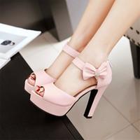Wholesale High Heels Size 42 - Sandals PU Woman's shoes Big 45 46 40 41 42 Small shoes 32 33 High Heel 11.5CM Platform 3CM EUR Size 31-47