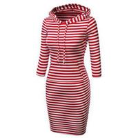kırmızı şapka giysileri toptan satış-Bir şapka ile sonbahar moda rahat kadın giyim kırmızı uzun kollu elbiseler çizgili elbiseler uzun kollu mini kısa elbise kadın Hoodies
