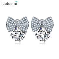 Wholesale Cube Bow Earrings - LUOTEEMI New Jewelry Shimmer Chic Fashion White Gold-Color Bowknot Cube Crystal with Round Stone Bow Stud Earrings for Women