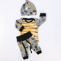 Wholesale Top Hats For Baby Girls - Halloween Baby Outfits Pumpkin Ghost Print Kids 3 Pieces Set with Hat 2017 Baby Clothing INS Toddlers Tee Tops Outfits for Halloween