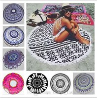 Wholesale Stripe Tablecloth - 50pcs Round Mandala Beach Towels Printed Tapestry Hippy Boho Tablecloth Bohemian Beach Towel Serviette Covers Beach Shawl Wrap Yoga Mat B53