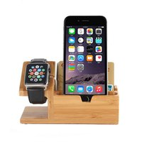 Wholesale Brown System - Multi Function Charging Mobile Phone Stand 3 USB Ports Wood Phone Holder for Andriod and IOS system