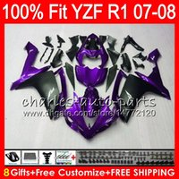 Wholesale Black Yamaha R1 - 8Gifts 23Colors Injection For YAMAHA YZF-R1 07-08 YZF1000 YZF 1000 Purple black 37NO59 YZFR1 07 08 YZF-1000 YZF R 1 YZF R1 2007 2008 Fairing