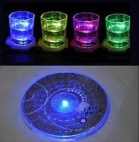 Wholesale Bamboo Change Mat - Wholesale- Delicate Colorful Changing LED Light Drink Glass Bottle Cup Coaster Mat Bar Party Xmas Gift