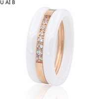Wholesale Middle East Beauty - Beauty Of Spring Fashion Cubic Zirconia Stone Ring titanium Ceramic Rings For Women Female Big Wide Luxury Rings