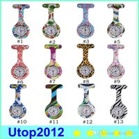 Wholesale New Follower - Silicone Nurse Pocket Watch Candy Colors Zebra Leopard Prints Soft Band Brooch Nurse Watch 11 Patterns Follower Airming 100pcs lot