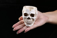 Wholesale Wealth Flower - small human head skull flower pots ashtray garden theme interior resin Halloween skull teaching mold personalized mini Home ornaments craft