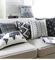 Wholesale Pillow Cover Geometric - Black And White Cushion Covers Geometric Triangles Stripe World Map Pillow Cover Decorative Velvet Pillow Case For Sofa Seat