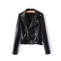 Wholesale Motor Woman Jacket - Women Leather Jacket Motor Faux PU Leather Coats Biker Outwear Overcoat New Fashion S M L XL Spring Fall Clothing