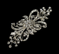 Wholesale Vintage Party Glasses - Vintage Silver Bunch Flower Design Crystal Brooch