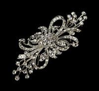 Wholesale Vintage Silver Rhinestone Brooch - Vintage Silver Bunch Flower Design Crystal Brooch