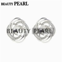 Wholesale mounted stud earrings - 5 Pairs Pearl Earring Settings Luxury Design 925 Sterling Silver Cubic Zirconia Floral Stud Earring Mounting