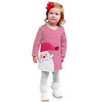 Wholesale Shirt Reindeer - Reindeer T-shirt dress shirt Girl Christmas Dress Long Sleeve Snowman Striped Dress Baby Kids Clothing Girl's Dresses 1557