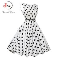 Wholesale polka dot robes - Ladies Summer Casual Dress Women Polka Dot Retro Swing Gown Pin up Robe Vintage s s Rockabilly Dresses Plus Size WQ0974