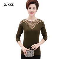 Wholesale Thin Transparent Computer - Wholesale- Women sweaters and knitwear long-sleeved new 2017 spring transparent collar casual plus size knitted pullover